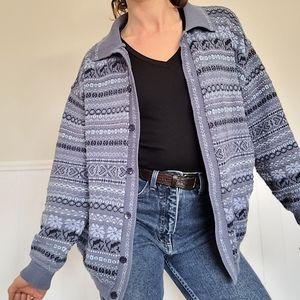 🥰 Vintage blue knit zip up sweater